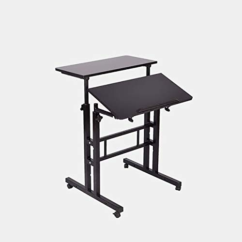 - Metal Desk with Adjustable Height - Rectangular Standing Desk with Casters - Brown