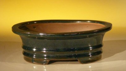 Bonsai Boy's Dark Green Ceramic Bonsai Pot - Oval 8 0 x 6 0 x 2 5