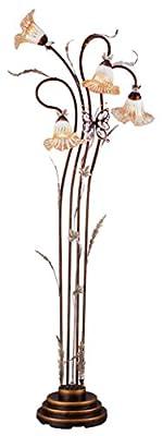OK Lighting OK-9138 Flower Glass Shade Metal Floor Lamp, 70-Inch, Bronze Finish