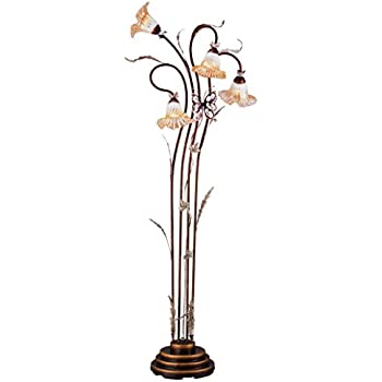 OK Lighting OK-9138 Flower Glass Shade Metal Floor Lamp, 70-Inch ...