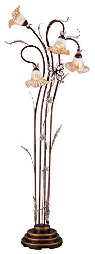 OK Lighting OK-9138 Flower Glass Shade Metal Floor Lamp, 70-Inch, Bronze Finish (Floor Glass Lamp Flower)