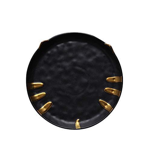 Cat Design Golden/Silver Inlay Ceramic Dinnerware (Black, 7.5 in. Plate) by FREELOVE