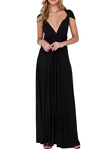 Clothink Women's Black Convertible Wrap Multi-Way Maxi Long