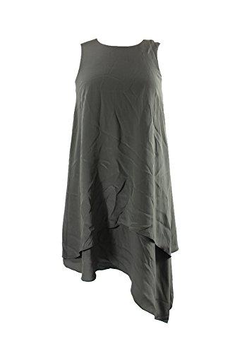 Eileen Fisher Olive Silk Asymmetrical-Hem Shift Dress XS