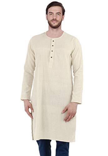 SKAVIJ Men's Tunic Cotton Long Kurta Shirt Regular Fit (Large, Off-White)