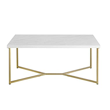 Pemberly Row Rectangle Coffee Table in White Faux Marble and Gold
