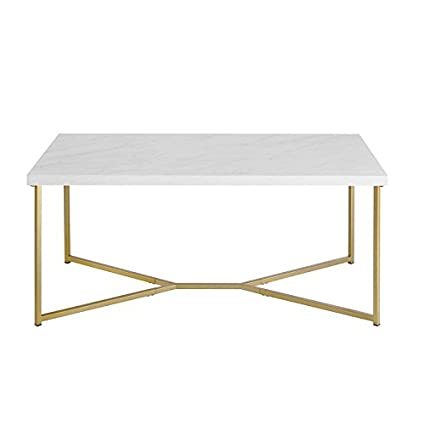 Astounding Pemberly Row Rectangle Coffee Table In White Faux Marble And Gold Squirreltailoven Fun Painted Chair Ideas Images Squirreltailovenorg