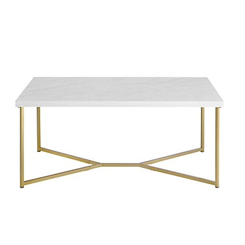 Pemberly Row Rectangle Coffee Table in White Faux Marble and Gold (Rectangular Marble Base)