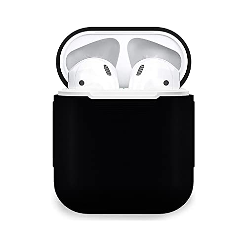 V4U Protective Silicone Case Skin Cover Earphone Headphone Sleeve with Metal Latch Key Chain Clasp Buckle with Wireless Charging Supported for Apple Airpods Pro – (Black)