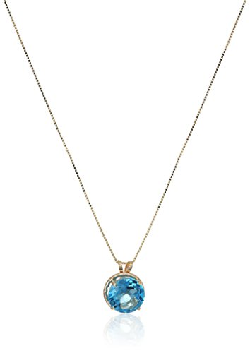 10k Braided Yellow Gold Round Cut Blue Topaz Pendant Necklace, 18