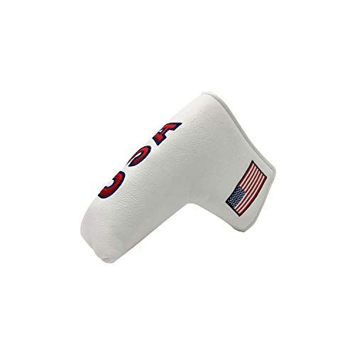 And Etcetera Golf Blade Putter Cover USA Flag Headcover Synthetic Leather Magnetic Closure for Scotty Cameron Odyssey Taylormade Ping Callaway Patriotic (White)