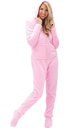 Del Rossa Microfleece Footed Pajamas,Pink, Large -