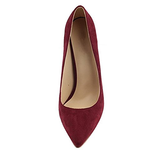 Jushee Women's Closed Pointed Toe Stiletto High Heels Dress Pumps Wine Red Suede RF2pgCB