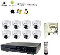 GadKo 8Ch DVR/8 x 700TVL Dome IR Camera (White)/Power Supply Kit