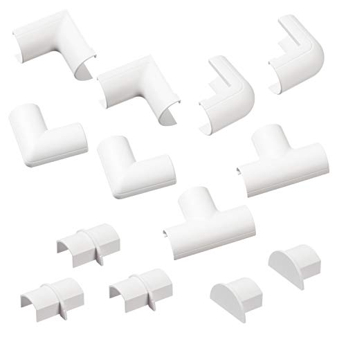 D-Line Micro+ Cable Raceway Clip-Over Accessories | Join Multiple Lengths of 2010 Micro+ Cord Cover | 13 Piece Electrical Raceway Accessory Multipack - White