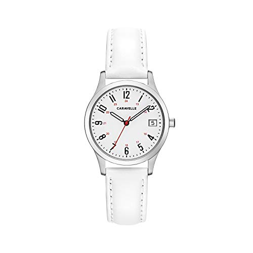 Caravelle Women's Stainless Steel Quartz Watch with Leather Calfskin Strap, White, 15 (Model: 43M117)