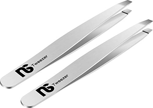Slant Tweezers (2_Pack) – Professional Tweezers for Eyebrows, Stainless Steel Brow Plucking Tweezer and Best Precision Hair Plucker for Expert Personal Care, Natural Silver Color