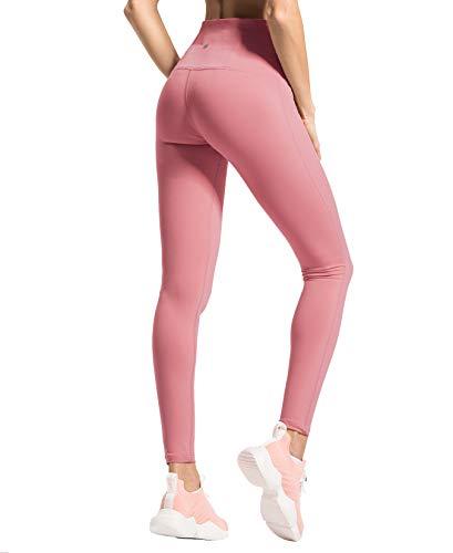 QUEENIEKE Women Yoga Legging Power Flex High Waist Running Pants Workout Tights Size 16 Color Begonia Pink