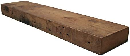 Rustic Barn Beam Mantle- Reclaimed Farmhouse Wood Shelf 72 inch Long