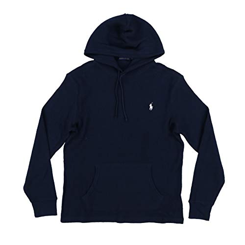 Polo Ralph Lauren Mens Hooded Waffle Knit T-Shirts (Large, Navy Blue) ()