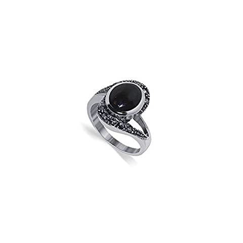 Gem Avenue 925 Sterling Silver Oval Simulated Black Onyx and Marcasite Ring (Marcasite Rings Size 11)