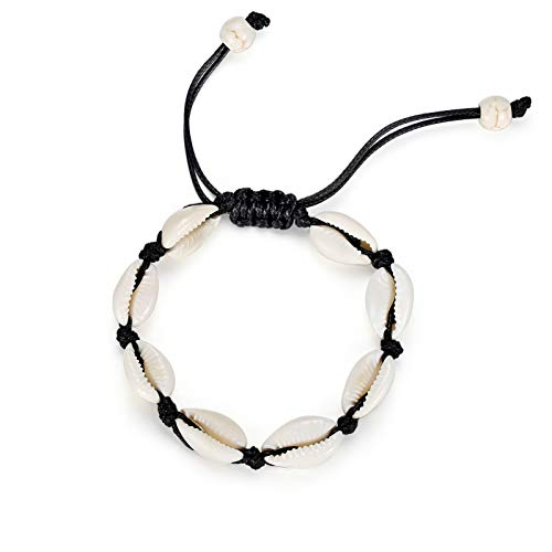 Studiocc Natural Cowrie Beads Shell Anklet Bracelet Handmade Beach Foot Jewelry Hawaiian Jamaican Style Adjustable for Women Ladis Unisex -
