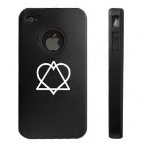 Apple iPhone 4 4S 4 Black D3556 Aluminum & Silicone Case Cover Adoption Symbol