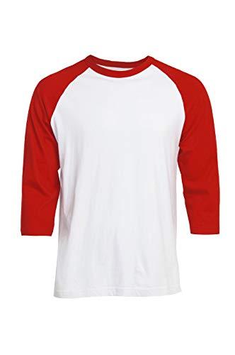 Men's 3/4 Sleeve Raglan Cotton Baseball Tee Shirt (L, Red/White)