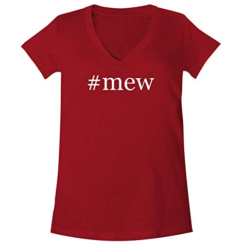 #mew - A Soft & Comfortable Women's V-Neck T-Shirt, Red, Small]()