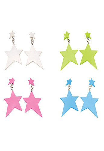 80's Punk Rocker Star Earrings Costume Accessory (White)