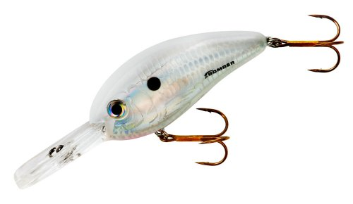 Bomber Fat Free Square Lip Lures, Dance's Pearl White, 3-Inch