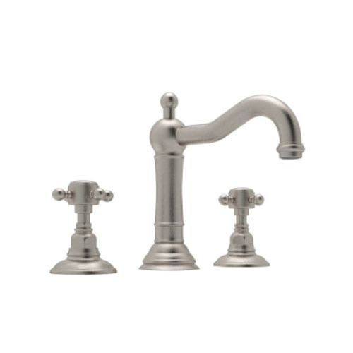 Handle Rohl Cross (Rohl A1409XMSTN-2 Country Bath Acqui Widespread Lavatory with Cross Handles Pop-Up and Column Spout, Satin Nickel)