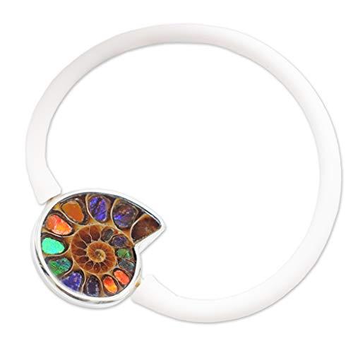 (Ammonite with Ammolite-Inlay Stone Bracelet by Stones Desire)
