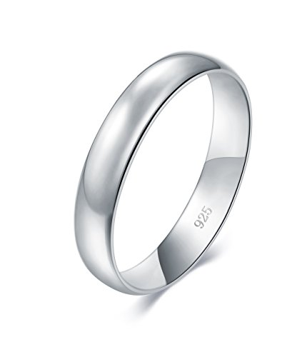 BORUO 925 Sterling Silver Ring High Polish Plain Dome Tarnish Resistant Comfort Fit Wedding Band 4mm Ring Size 12