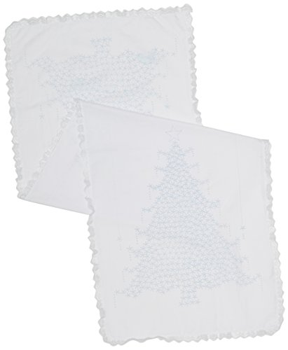 - Fairway Stamped Lace Edge Table Runner, 15 by 42-Inch, Christmas Tree