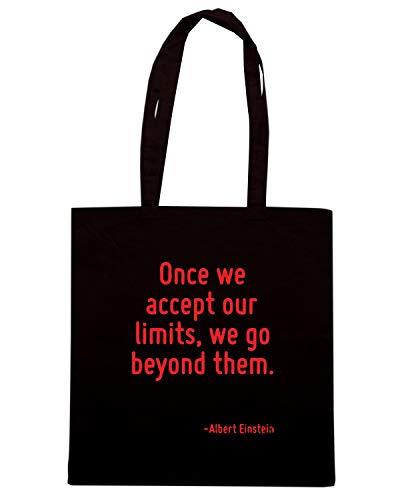 Borsa Shopper Nera CIT0176 ONCE WE ACCEPT OUR LIMITS WE GO BEYOND THEM.