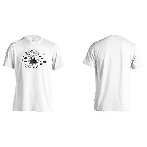 Mädchen Mit Hund Zeichnung Schwarz Herren T-Shirt n877m