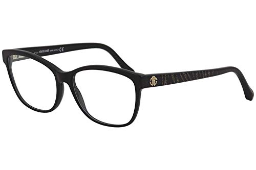 (Roberto Cavalli RC0970 - 001 Eyeglass Frame shiny black frame w/ Clear Demo Lens 55mm)