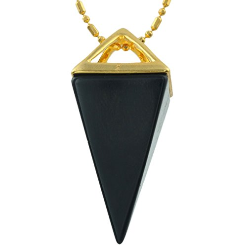 [SUNYIK Black Agate Point Pendant Necklace,Healing Chakra Stone,Gold Plated] (Sand People Costume)