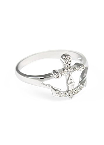 The Collegiate Standard Delta Gamma Sterling Silver Anchor Ring, Set with CZs Size 8 ()