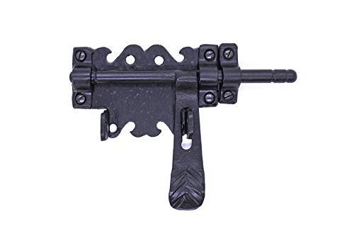 - Barrel Bolt 6.75 for Doors or Gates Rustic Hammered Iron Black Finish Hand Crafted Borderland Rustic Hardware (Black)