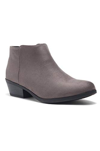 Herstyle Chatter Women's Western Ankle Bootie Closed Toe Casual Low Stacked Heel Boots Grey 9.0