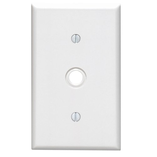 Leviton 1 Telephone Gang (Leviton 88018 1-Gang .406-Inch Hole Device Telephone/Cable Wallplate, Standard Size, Thermoset, Strap Mount, White)