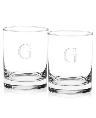 (Culver 018G-65E-2 Deep Etched DOF Double Old Fashioned Glass, 14-Ounce, Monogrammed Letter-G, Set of 2)