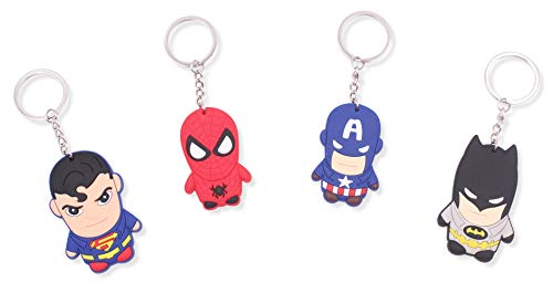 FINEX Set of 4 Superhero Keychain for Backpack School Bag Handbag Tote Daypack - Random Superman Spiderman Captain America Batman -