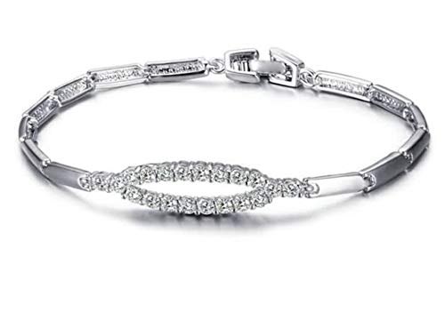 ANAZOZ Stainless Steel Bracelet for Women Chain Bracelet Silver Rectangle Link Oval 3x17.5CM