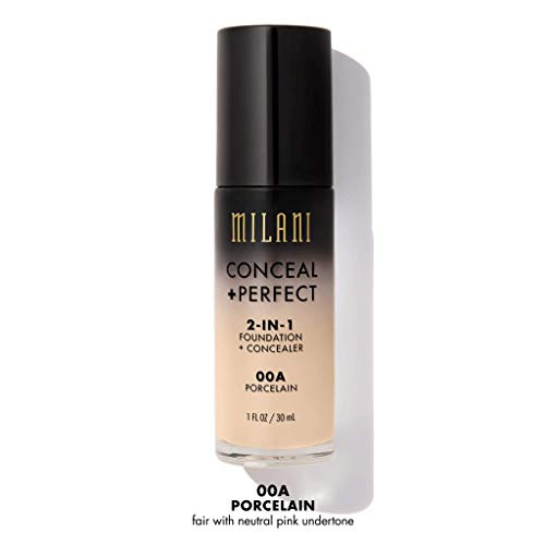 Milani Conceal + Perfect 2-in-1 Foundation + Concealer - Porcelain (1 Fl. Oz.) Cruelty-Free Liquid Foundation - Cover Under-Eye Circles, Blemishes & Skin Discoloration for a Flawless Complexion (Foundation For Under Eyes)