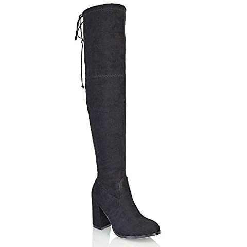 ESSEX GLAM Womens Over The Knee High Block Heel Black Faux Suede Boots 5 B(M) US