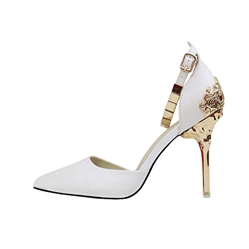 Donne Di Moda Cybling Scarpe A Punta Tacco A Spillo Pompe Con Cinturini Alla Caviglia Scarpe Da Sposa Bianche