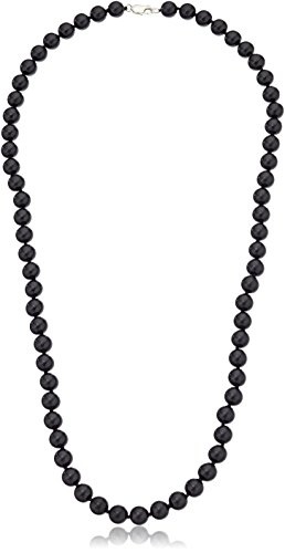 Onyx Bead Necklace (Sterling Silver 8mm Black Onyx Bead Necklace,)